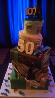 A cake at one of many Founder's Day celebrations marking Reston's 50th anniversary and the 100th birthday of founder Robert E. Simon.