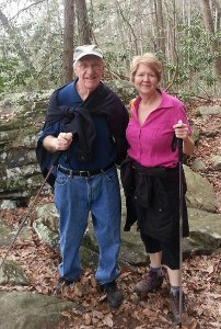 Photo of Ken and Jane Plum hiking through Breaks Interstate Park in southwestern Virginia.