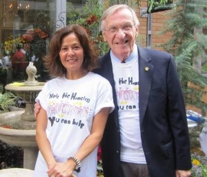 Photo of Delegate Plum with May Bernhardt of Mayflowers in Reston Town Center, sponsor of a Help the Homeless Walk with Cornerstones