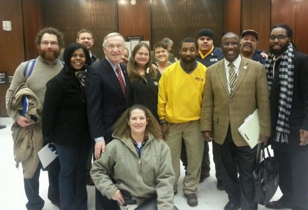Photo of Delegate Ken Plum with working Virginians supporting an increase in the minimum wage.