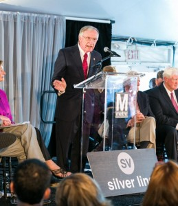 Delegate Ken Plum speaking at the opening of Phase 1 of Metro's Silver Line