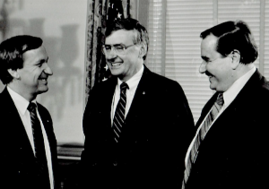 Photo of Dr. Barry Wolf (right), Delegate Ken Plum and former Virginia Governor Gerald Baliles (center).