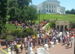 Photo of gun safety advocates gathering at Virginia State Capitol