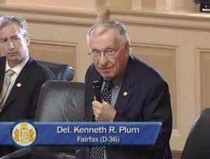 Photo of Delegate Ken Plum speaking on the House of Delegates floor